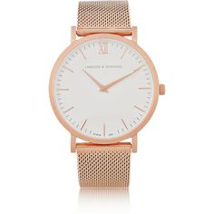 Larsson & Jennings CM rose gold-plated watch (410 AUD) ❤ liked on Polyvore featuring jewelry, watches, accessories, bracelets, relojes, rose gold, chain watches, white watches, chains jewelry and swiss quartz watches