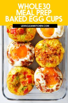 These healthy baked egg cups make the perfect breakfast meal prep for when you are rushing out the door but still want your protein-packed nutrient dense meal. They also make a great snack as well! And they're paleo and whole30 friendly! Easy Whole 30 Recipes, Easy Delicious Recipes, Delicious Breakfast Recipes, Brunch Recipes, Paleo Breakfast, Yummy Snacks, Breakfast Ideas, Dinner Recipes, Yummy Food