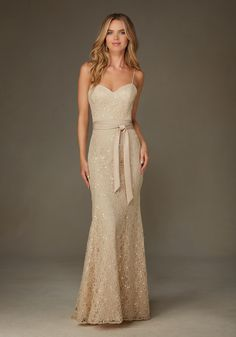 Elegant Beaded Lace Bridesmaid Dress with Spaghetti Straps Designed by Madeline Gardner. Shown in Champagne.