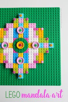 Art meets LEGO in this super creative and fun LEGO mandala art! A perfect hands-on activity perfect for teaching kids all about symmetry! Lego Portrait, Lego Decorations, Preschool Art Activities, Lego For Kids, Kids Diy, Lego Club, Lego Pictures, Mandala Art Lesson, Lego Projects