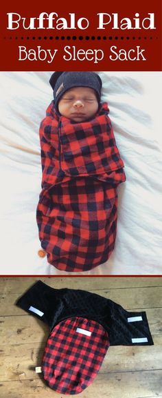 This sleep sack is so, so cute! Buffalo plaid baby sleep sack lined with minky material. Buffalo Plaid | Buffalo Check | Lumberjack Plaid | Baby Swaddle | Baby Shower Gift Ideas #buffalocheck #ad #buffaloplaideverything #babyswaddle