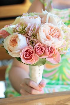 Add some color to your special day by incorporating antique green hydrangeas, juliet garden roses, and pink spray roses. Bouquet by Avant Gardens Miami Flower Girl Bouquet, Flower Girls, Wedding Story, Our Wedding, Green Hydrangea, Hydrangeas, Wedding Bouquets, Wedding Flowers, Spray Roses