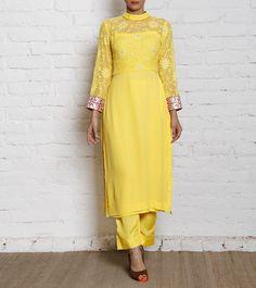 Yellow Georgette Kurta Set #indianroots #ethnicwear #kurtaset #georgette #occasionwear #summerwear #eveningwear