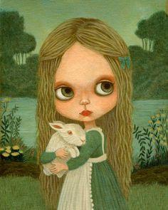 Alice In Wonderland Art, Girls Room Art, Poster, Girl Art Print, Big Eyed Girl, Children's Art, Blythe - Alice & The White Rabbit Print 8x10. $10.00, via Etsy.