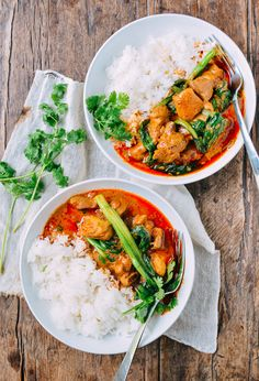 Thai Red Curry Chicken ||  boneless skinless chicken thighs,  garlic, ginger, Thai red curry paste, coconut milk,  choy sum or baby bok choy, cilantro,