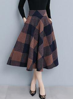 Style Color-blocked Plaid Woolen Big Hem Skirt - Fashion For Women Plaid Skirts, Wool Skirts, Mini Skirts, Women's Skirts, Plaid Wool Skirt, Casual Skirts, A Line Skirts, Skirt Outfits, Cute Outfits
