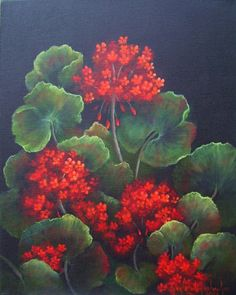 Red Geraniums, original 16x20 oil painting, by GrandmaGaylesArt on Etsy