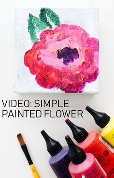 Refresh an old canvas with a simple acrylic paint floral! Join Kim Dellow for Floral June and lots of ideas to stretch your mixed media flower art. Watercolor Art Face, Watercolor Art Lessons, Watercolor Art Paintings, Simple Acrylic Paintings, Doodle Art Letters, Doodle Art Journals, Art Journal Pages, Art Videos For Kids, Art For Kids