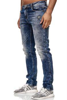 Herren Männer Jeans Dünn Löcher Jeanshose Slim Fit Hose Denim Clubwear