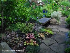 """""""shady stone path winds through naturalistic woodland-style plantings toward a sunnier space beckoning with flowers"""""""