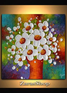 Impasto flowers in the vase spatula painting, spring fresh wall art decor, unique . - Impasto Flowers in Vase Palette Knife Painting, Spring Fresh Wall Art Decor, Unique Anniversary Gif - Palette Art, Palette Knife Painting, Simple Acrylic Paintings, Acrylic Art, Painting Edges, Texture Painting, Deep Art, Colorful Wall Art, Colorful Decor