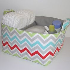 Zoom Zoom Harmony Chevron Gray Accent Fabric Organizer Bin Basket Diaper Caddy