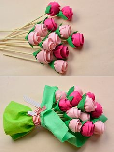 Finish the felt flower bouquet/ Pañolenci/ fieltro/ Maria L.bertolino/ www. - Gift World Kids Crafts, Easter Crafts, Felt Crafts, Diy And Crafts, Felt Flower Bouquet, Felt Flowers, Diy Flowers, Fabric Flowers, Diy Y Manualidades