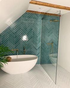 Gorgeous tile color from ! Bad Inspiration, Bathroom Inspiration, Bathroom Renos, Small Bathroom, Bathroom Ideas, Bathroom Renovations, Master Bathroom, Bathroom Green, Modern Bathroom