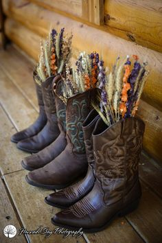 cowgirl boots with dried flowers - perfect for a fall wedding!