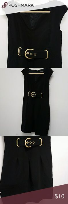 Ellen Tracy Buckle Dress Black Dress with built in Belt and buckle in front. Ellen Tracy Dresses