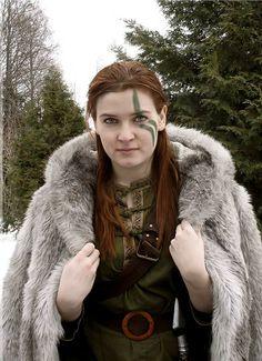 Green face celt woman.