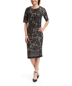 Loving this Black & Taupe Floral Sheath Dress on #zulily! #zulilyfinds