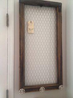 Reclaimed Old Window - Brown Shabby Chic Chicken Wire Memo Board -White Vintage Hose Knob -Farmhouse Chic -Bulletin Board -Pin Board -Rustic