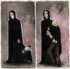 Uncle Snape by CaptBexx.deviantart.com on @deviantART. Love how the fandom has decided Snape was Draco's loving/long-suffering godfather