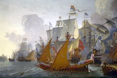 Dutch warships engaging Barbary Pirates