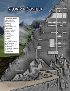 Fantasy Cartography by Sean Macdonald. Dungeon inside a mountain
