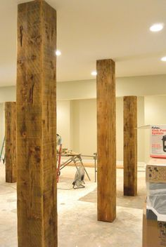 Offer your basement walls a rustic appearance without breaking the bank or break… - Keller Schlafzimmer Small Basements, Man Cave Home Bar, Rustic Basement, Basement Ceiling, Diy Remodel, Basement Decor, Basement Remodeling, Home Remodeling, Home Decor