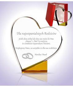 Statuetka szklana w kształcie serca z grawerem lub nadrukiem, podziękowanie dla rodziców, prezent na rocznicę ślubu