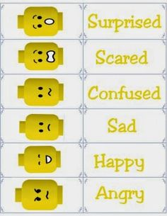 Smart Apps For Special Needs: Free printable flashcards for emotions -- including LEGO faces!