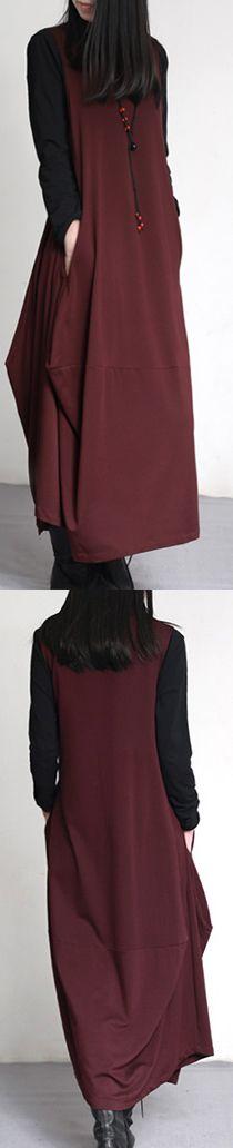 2017 fall burgundy vintage sleeveless cotton  draping slim  maxi dress