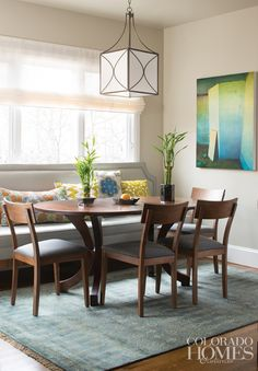 House of Turquoise: I say it all the time, but I just love a neutral palette with pops of turquoise! This Denver home designed by Beth Armijo of Armijo Design Group is awash in soothing, nature-inspired colors and patterns. I'm loving the vibrant artwork in all three rooms, the cozy banquette in the breakfast nook, and all of the rugs throughout! The kitchen is gorgeous too.
