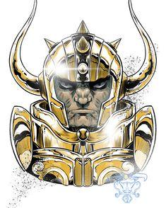 Aldebaran de Touro Cavaleiros de Ouro Manga Anime, Anime Art, Egypt Concept Art, Kratos God Of War, Super Anime, Taurus Tattoos, Good Manga, Neon Genesis Evangelion, Illustration Sketches