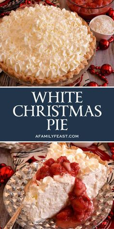I'm dreaming of a white Christmas…and this White Christmas Pie is very dreamy and delicious! This White Christmas Pie is filled with a creamy and sweet coconut filling flavored with both almond and vanilla then topped with unsweetened whipped cream. Just Desserts, Delicious Desserts, Finger Desserts, Christmas Cooking, Christmas Pies, Christmas Snacks, Holiday Pies, Christmas Cupcakes, Pies For Thanksgiving