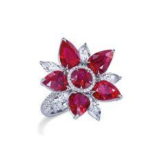 Mixed cut ruby and diamond ring   Asprey