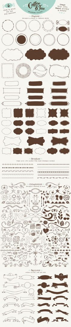 Coffee & Tea Branding Toolkit - Boarders - Patterns - Brushes - Make Your Own Logo
