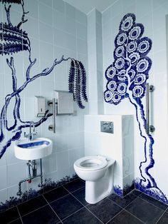 Commission in the new public toilets in Workington. Beautiful commission for Northern Print in 2009 called Willow Creek Blue Willow China, Blue China, Guest Bathrooms, Family Bathroom, Bathroom Ideas, China Patterns, Tile Patterns, Tiled Hallway, Willow Pattern