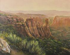 "Landscape Artists International: Original Colorado Mountain Landscape Painting,""Kissing Couple at Sunset"" by Nancee Jean Busse Painter of the American West Contemporary Landscape, Landscape Art, Landscape Paintings, Art Paintings, Western Landscape, Mountain Landscape, Colorado National Monument, Wildlife Paintings, Busse"