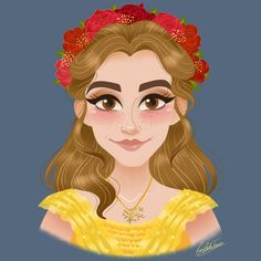 Emma Watson as Belle wearing a roses crown from Beauty and the Beast 2017 ⚘