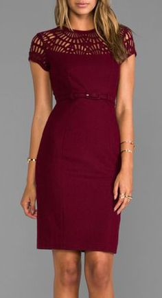 "SUSANA MONACO Novelty Laser Cut Wool Lily 25"" Dress in Oxblood - Dresses"
