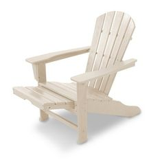 Polywood Palm Coast Adirondack Chair with Pull Out Ottoman - Beige