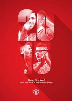 """ Happy Year from everyone at Manchester United. Now, bring on "" Poster Design, Art Design, New Year Designs, Happy New Year Design, Sports Graphic Design, Football Design, Sports Graphics, Expo, Advertising Design"