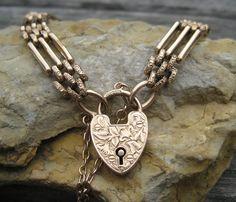 Edwardian 15k Heart Padlock Gate Bracelet Rose Gold