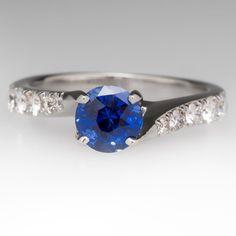1.2 Carat Electric Blue Sapphire & Diamond Ring 18K
