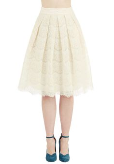 Size Medium  Ethereal Essayist Skirt by Ryu - Long, Woven, Lace, Cream, Solid, Lace, Pleats, Wedding, Party, Holiday Party, Bride, 50s, Darling, Full, Fall, Winter, Better, White, Vintage Inspired