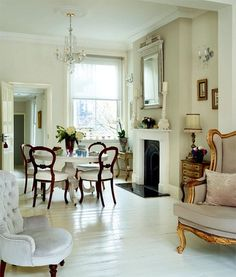 Eye For Design: Decorating With White Painted Hardwood Floors White Painted Floors, Painted Hardwood Floors, White Wood Floors, White Floorboards, Interior Design Blogs, Home Interior, Interior Decorating, Decorating Ideas, Period Living