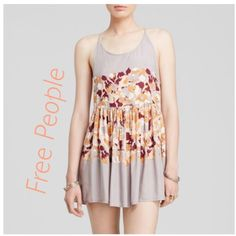 HP🎀New Free People slip floral dress New free people light grey floral slip dress crossed back straps very light and soft rayon material Free People Dresses Mini