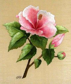 This beautiful thread painted pink hibiscus just shimmers - don't you think? This piece is the work embroidery artist Christiane Plamondon Hallé. You can see this flower in the site www.rayons-de-soie.com
