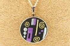 Embroidered Klimt gold pattern pendant - kikulu handmade jewellery and vintage jewellery Vintage Jewellery, Handmade Jewellery, Vintage Costume Jewelry, Vintage Costumes, Gold Pattern, Black Linen, Klimt, Washer Necklace, Sewing Patterns