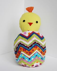 Sew the perfect toy for spring, a chick that folds into an egg.  It's a buddy, it's a ball, it's a Ball Buddy!