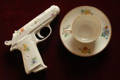 Porcelain Guns: More Pretty Guns For Your Tea Table Tomoe, Mad Tea Parties, Tea Party, Kitsch, Kyoko Sakura, Jervis Tetch, Sayaka Miki, Up House, Hacks